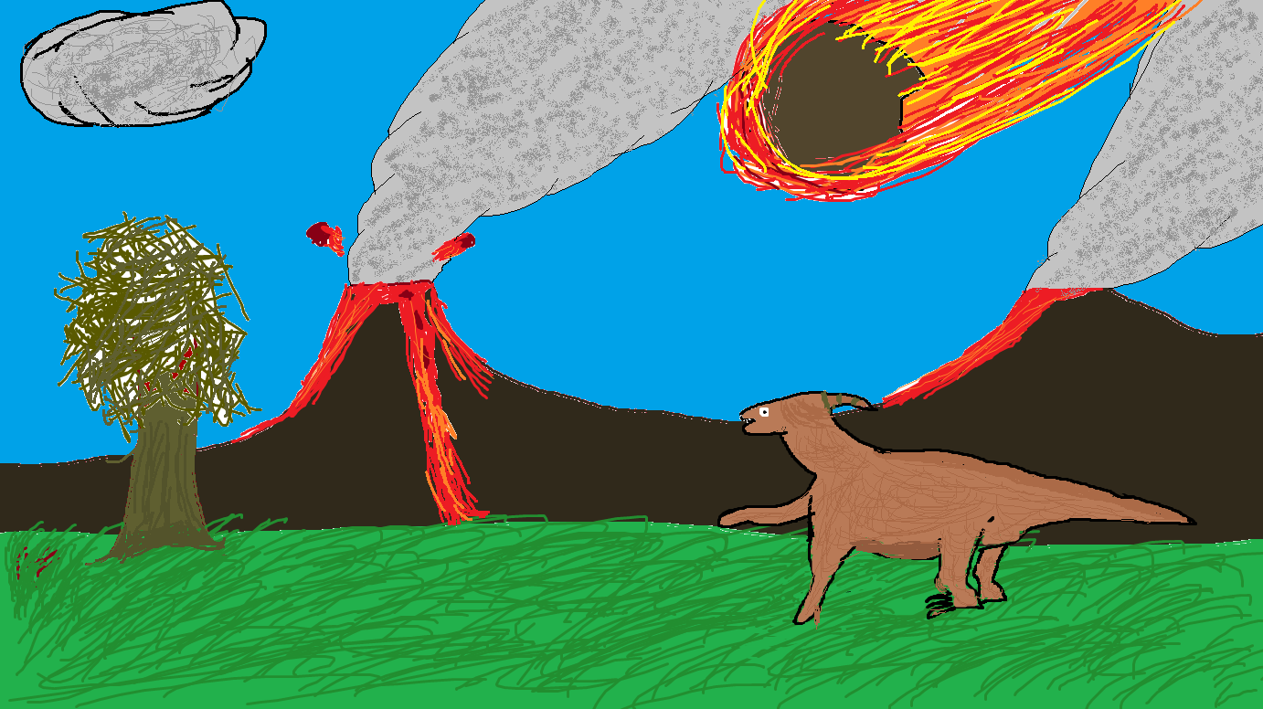Parasaurus watching asteroid hit the Earth
